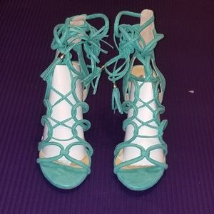 Wild Diva Shoes - Turquoise Caged Lace Up Gladiator Heel